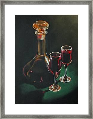 Carafe And Glasses Framed Print by Alan Stevens