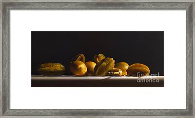 Carambolas,lemons And Banana Framed Print by Larry Preston