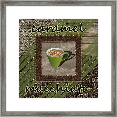 Caramel Macchiato - Coffee Art - Green Framed Print by Anastasiya Malakhova