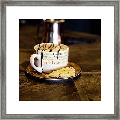 Caramel Macchiato With Scone Framed Print