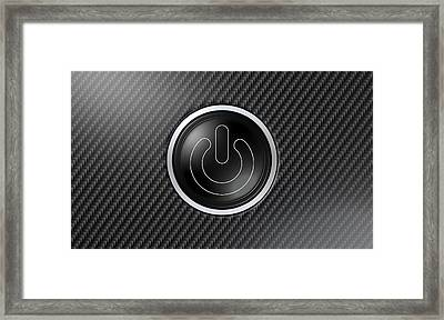 Carbon Fiber Power Button Framed Print