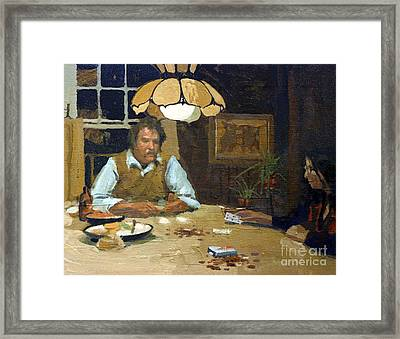 Card Game Framed Print by Donald Maier