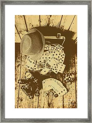 Card Games And Vintage Bets Framed Print