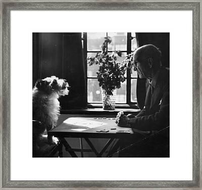 Card Shark Dog Framed Print by Charles Hewitt