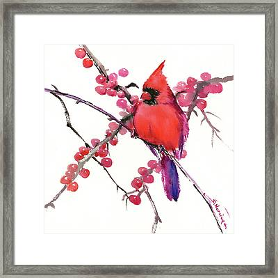 Cardinal And Berries Framed Print