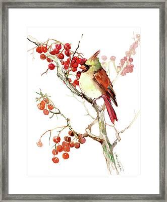Cardinal Bird And Berries Framed Print by Suren Nersisyan