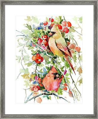 Cardinal Birds And Hawthorn Framed Print