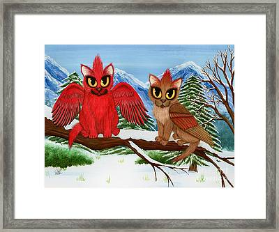 Framed Print featuring the painting Cardinal Cats by Carrie Hawks
