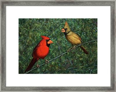 Cardinal Couple Framed Print by James W Johnson