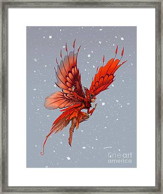 Framed Print featuring the digital art Cardinal Fairy by Stanley Morrison