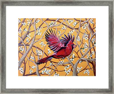 Framed Print featuring the painting Cardinal In Flight by Teresa Wing