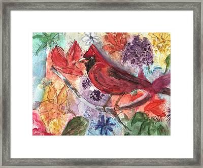Cardinal In Flowers Framed Print