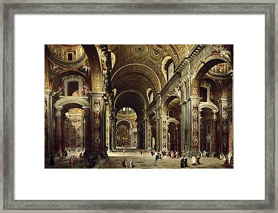 Cardinal Melchior De Polignac Visiting St Peters In Rome Framed Print by Giovanni Paolo Pannini or Panini
