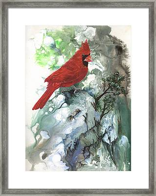 Framed Print featuring the painting Cardinal by Sherry Shipley