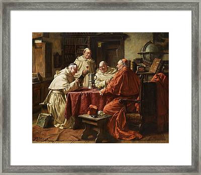 Cardinal With Monks Framed Print