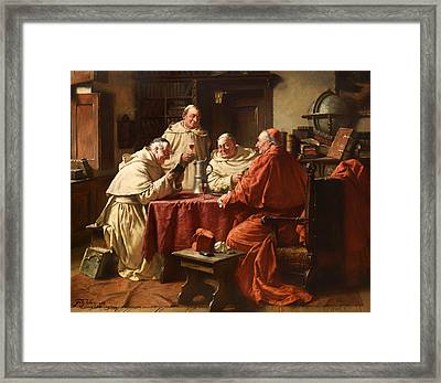 Cardinal With Monks In A Monastery Library Framed Print