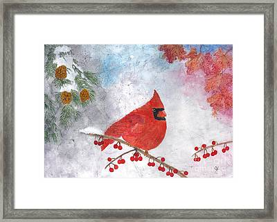 Cardinal With Red Berries And Pine Cones Framed Print