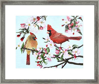 Cardinals And Apple Blossoms Framed Print by Johanna Lerwick