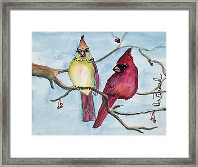 Cardinals Framed Print by Dale Bernard