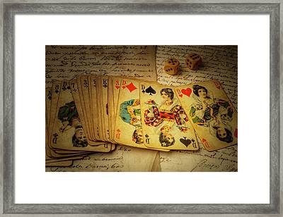 Cards And Dice Framed Print by Garry Gay