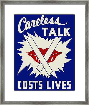 Careless Talk Costs Lives Framed Print by Finlay McNevin