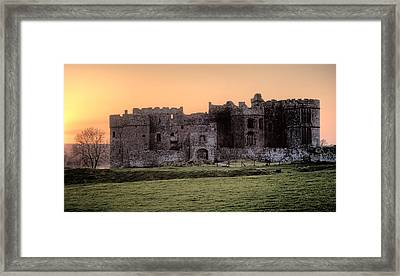 Carew Castle Coral Sunset Framed Print