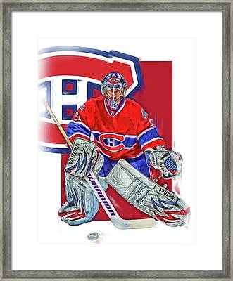 Carey Price Montreal Canadiens Oil Art Framed Print by Joe Hamilton