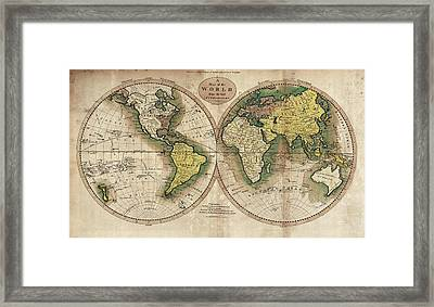Framed Print featuring the photograph Carey's Map Of The World  1795 by Daniel Hagerman