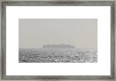 Framed Print featuring the photograph Cargo Au Large by Marc Philippe Joly