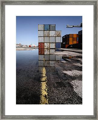 Cargo Containers Reflecting On Large Puddle II Framed Print by Marco Oliveira