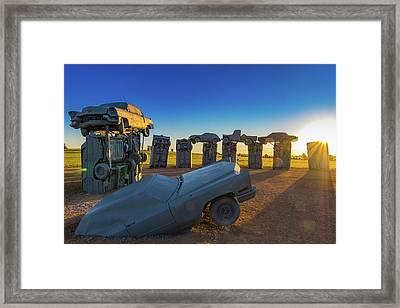 Carhenge Sunrise Framed Print by David Brown Eyes