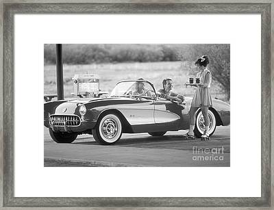 Carhop And Couple At A Retro Drive-in Framed Print