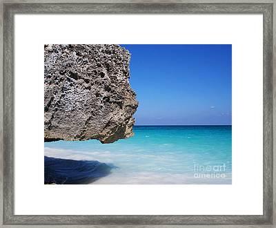 Caribbean Beach Rock Tulum Mexico Framed Print by Shawn O'Brien