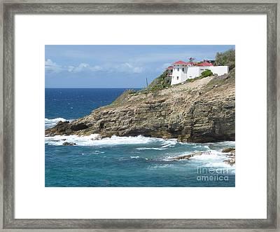 Caribbean Coastal Villa Framed Print by Margaret Brooks