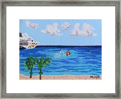 Caribbean Jet Ski Framed Print by Margaret Brooks