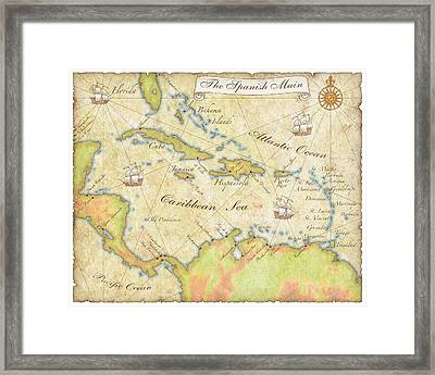 Caribbean Map - Good Framed Print
