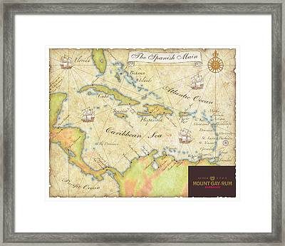 Caribbean Map II Framed Print