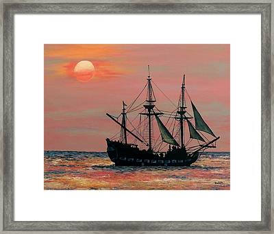 Framed Print featuring the painting Caribbean Pirate Ship by Susan DeLain