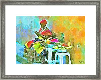 Caribbean Scenes - De Fruit Lady Framed Print