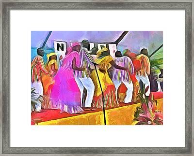 Caribbean Scenes - Folk Dancers Framed Print by Wayne Pascall