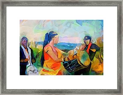 Caribbean Scenes - Indian Dance And Tassa Framed Print by Wayne Pascall