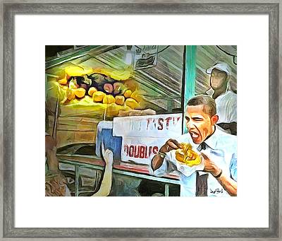 Caribbean Scenes - Obama Eats Doubles In Trinidad Framed Print