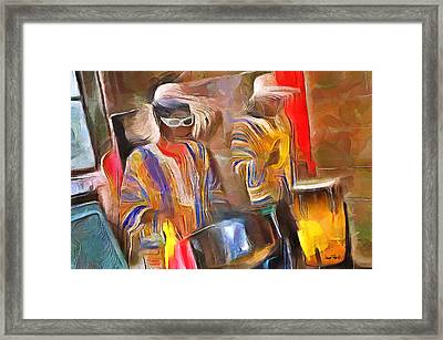 Caribbean Scenes - Pan And Drums Framed Print