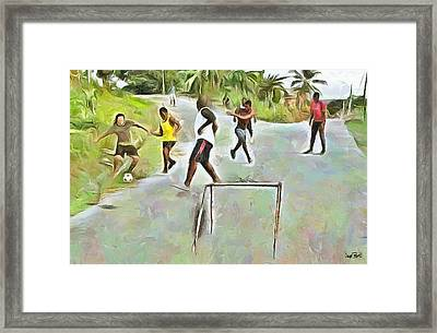 Caribbean Scenes - Small Goal In De Street Framed Print