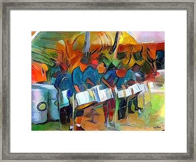 Caribbean Scenes - Steel Band Practice Framed Print by Wayne Pascall
