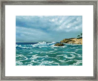 Framed Print featuring the painting Caribbean Sea by Anastasiya Malakhova