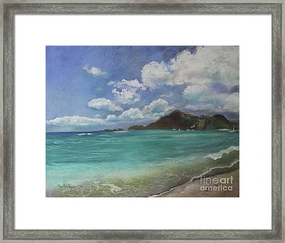 Framed Print featuring the pastel Caribbean Sea Day Antigua by Robin Maria Pedrero