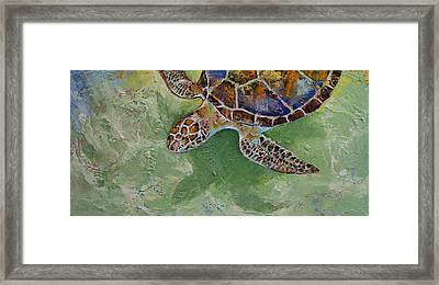 Caribbean Sea Turtle Framed Print by Michael Creese