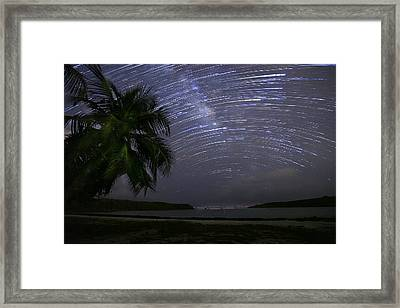 Caribbean Star Trails And Milky Way Framed Print by Karl Alexander