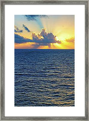 Framed Print featuring the photograph Caribbean Sunrise At Sea - Ocean - Sun Rays by Jason Politte